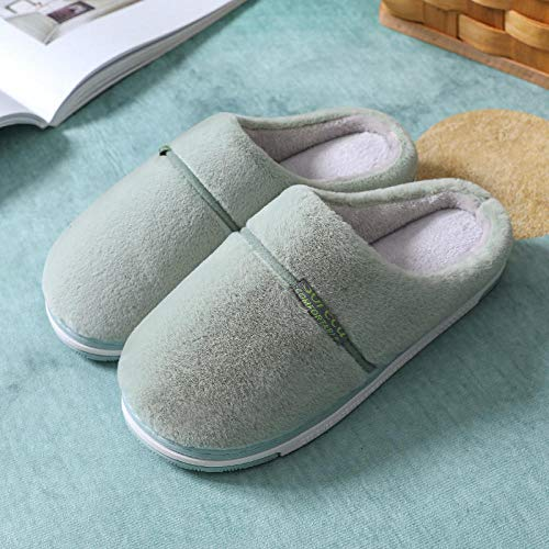 Zapatillas Casa Hombre Mujer Invierno Zapatillas Cálidas para Mujer, Felpa Suave, Antideslizante, para Amantes, Zapatos De Piso para El Hogar, Deslizamiento Sólido para Mujer, Verde_8.5