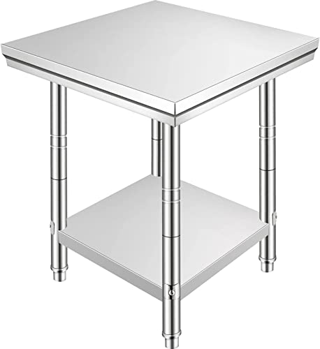 high quality Mophorn Stainless Steel Work Table discount 24 x 24 x 32 Inch Commercial Kitchen Prep & Work Table Heavy Duty Prep Worktable Metal Work Table with Adjustable Feet new arrival for Restaurant, Home and Hotel outlet sale