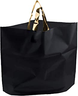 Retail Shopping Bags for Boutique - Large 14x18 Black Gift Bags with Handles Extra Thick Reusable Plastic Grocery Bags, 50pcs Bulk