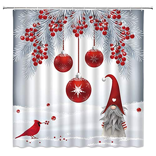 Merry Christmas Shower Curtain Cute Gnome Cardinals Red Christmas Ball Berry Pine Branch Dreamy Snowfield Winter Holiday Home Bathroom Decor Fabric Curtain with 12 Hooks,70x70 Inch,Gray Red