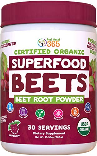 USDA Organic Superfood Beet Root Powder by Feel Great Vitamin Co.| Beetroot Nitric Oxide Supplement with Natural Nitrates for Natural Energy* | Supports Increased Blood Circulation and Immune Support*