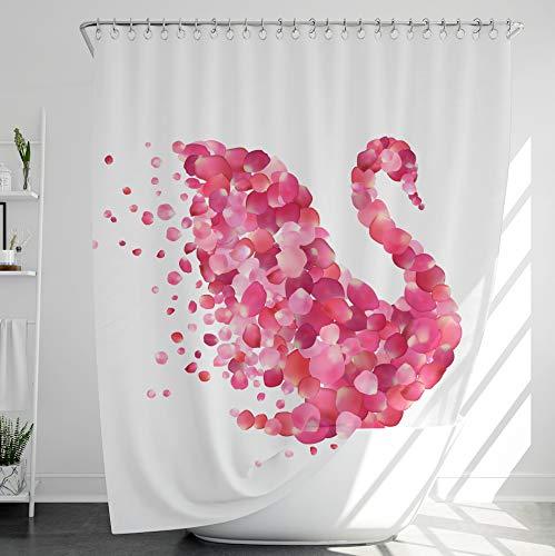 INNObeta Textil Duschvorhang mit 12 duschvorhangringe, antischimmel, wasserabweisend, wasserdicht, strapazierfähig, Bad Dekor, Maschinenwaschbar, 180x200 cm, Schwan, Rosa, Modern