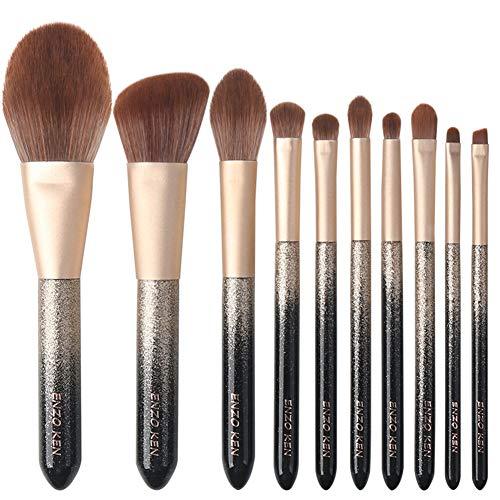Mosumi Juego de 10 brochas de maquillaje profesional para colorete, base, cejas, nariz, labios, polvo, cosméticos con una bolsa de cepillo (gradiente negro y dorado)