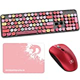 Wireless Keyboard and Mouse Combos,Typewriter Flexible Keys Office Rechargeable Keyboard with Round Keycaps,2.4GHz Dropout-Free Connection,Cute Wireless Moues Compatible with PC/Laptop/Mac(Black)