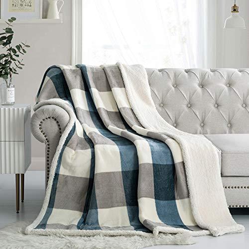 PU MEI Sherpa - Manta de forro polar reversible de felpa mullida de franela para sofá cama, 59.8 x 79.9in, color gris y azul