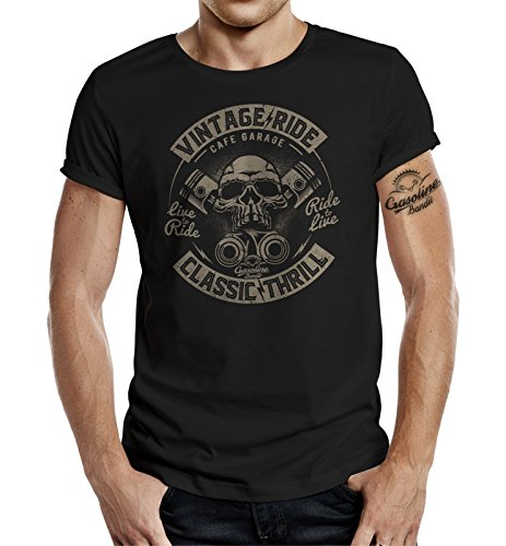 Gasoline Bandit Original Design Biker Shirt: Vintage Ride Classic Thrill-XL