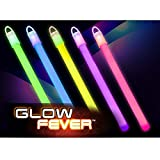 Glow Fever Bulk 100ct 6' Premium Slim Glow in The Dark Sticks, End Caps with Lanyards Included, for Party Supplies Festivals Raves Birthday Wedding (Multi)