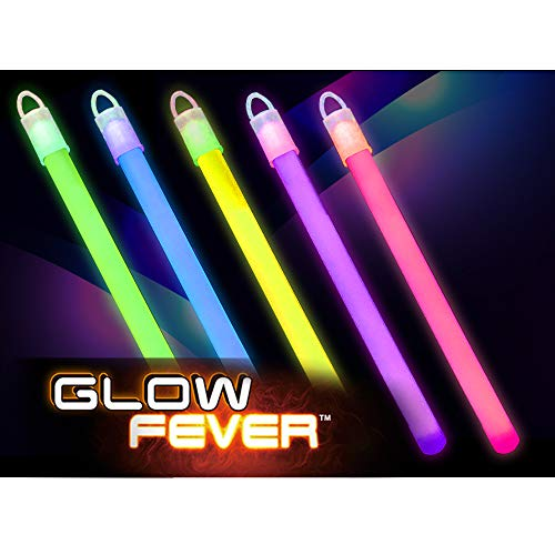 """Glow Fever Bulk 100ct 6"""" Premium Slim Glow in The Dark Sticks, End Caps with Lanyards Included, for Party Supplies Festivals Raves Birthday Wedding (Multi)"""