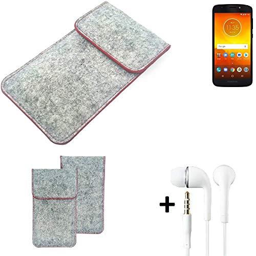 K-S-Trade Handy Schutz Hülle Für Motorola Moto E5 Dual SIM Schutzhülle Handyhülle Filztasche Pouch Tasche Hülle Sleeve Filzhülle Hellgrau Roter Rand + Kopfhörer