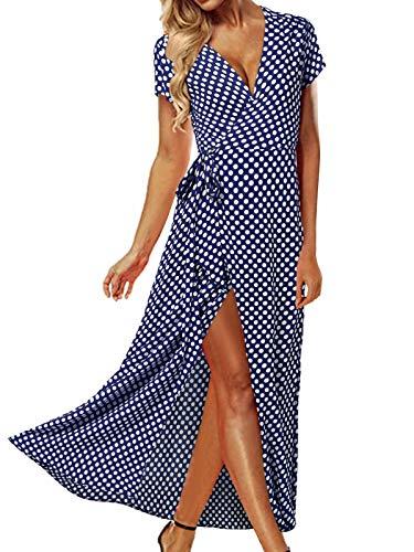 ACHIOOWA Sommerkleid Damen Tief V Ausschnitt Kurzarm Tallierte Maxi Strandkleid Hohe Schlitz mit Gürtel 1-Blau S