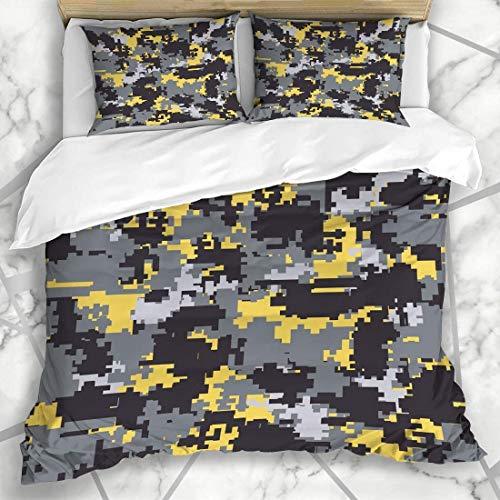 966 LICUNNI Bettbezug-Sets Paintball Gelb Camo Digital Pixel Camouflage Patterns Abstrakt Grau Camoflage Camoflauge Military Mikrofaser Bettwäsche mit 2 Kissenbezügen