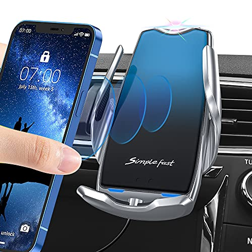 Phone Holder for Car,Upgrade, with 10W Qi Wireless Car Phone Holder Charging Function,Induction Auto Clip Car Phone…