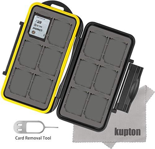 Kupton Estuche para Tarjetas de Memoria Resistente al Agua Funda de Tarjetas de Memoria a Prueba de Golpes para 12 Unidades de Tarjetas SDHC, SDXC, SD o Micro SD + Kupton Paño de Fibra Superfina