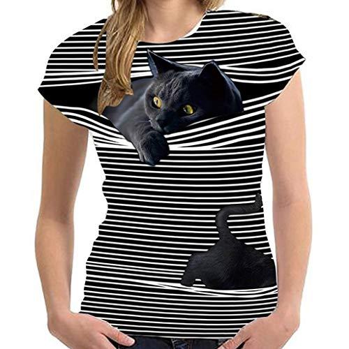 Cat Bedrucktes T-Shirt Damen Kurzarm Lose Bluse T-Shirts Damen Blusen Tops Sweatshirt Kapuzenpullover Langarmshirts Frühjahr Sommer Beste Freunde Pullover Hoodies für Frauen mit Mode Motiv