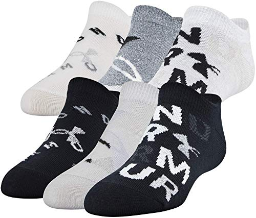 Under Armour Youth Essential 2.0 No Show Socks, 6-Pairs , Black/Gray Assorted , Youth Large