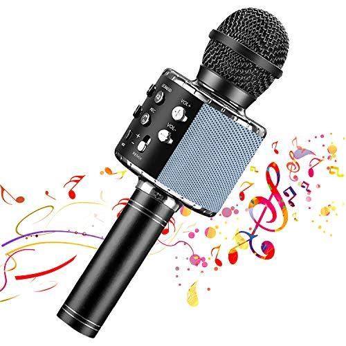 【Nuevo diseño 2020】 Micrófono de karaoke inalámbrico Bluetooth, Grabador de reproductor de altavoz de micrófono portátil, Máquina de altavoz de karaoke recargable(Black)