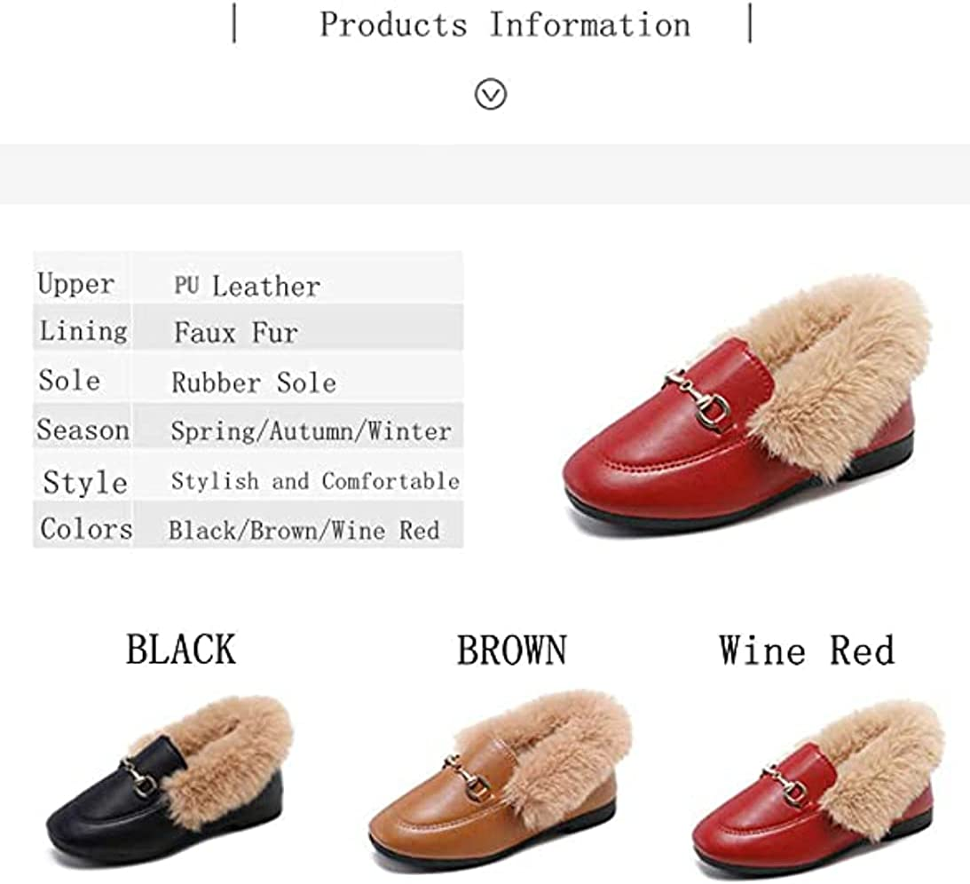 TangDao Toddler Little Kids Dress Shoes Velour with Fur Girls Boys Loafers Leather Warm Dress Shoes for Girls