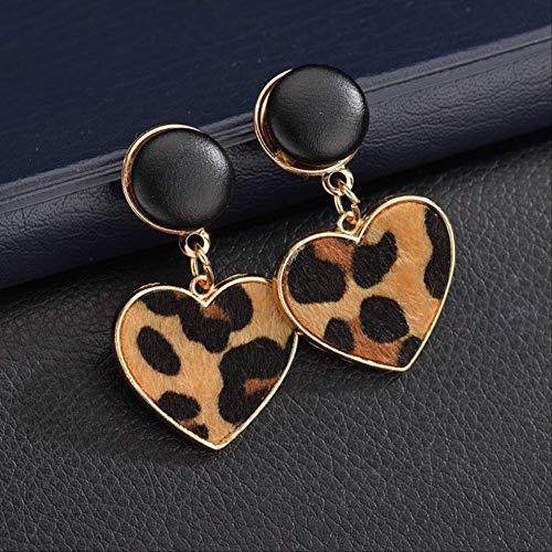Sieraden voor vrouwenZwart imitatie fluwelen hart Geometrische luipaard Druppel oorbellen voor dames Statement Trend Sieraden Geschenken OorbellenKoffie