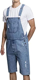 Huateng Mens Ripped Short Jeans Bib Overalls Dungarees Short Jeans Jumpsuits