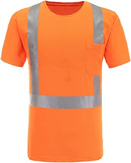 Reflective Safety Shirts, A-SAFETY, Short Sleeve Shirt with a Pocket Orange XL