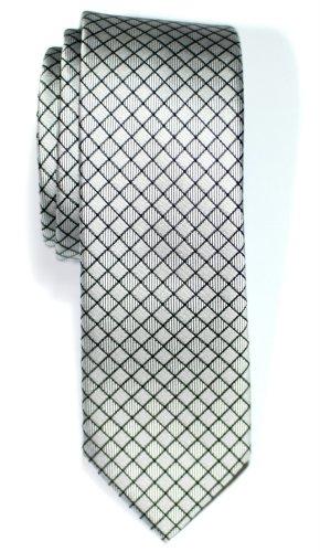 Retreez Cravate Fine Slim Texturé À carreaux Tissée en Microfibres de Argenté