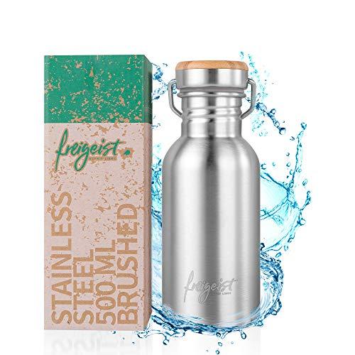 Freigeist RVS drinkfles 500 ml | lekvrij, licht, robuust | roestvrij stalen fles voor school, universiteit, kantoor | Water Bottle 0,5 l