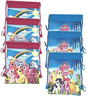 My Little Pony Party Bags for Kids Drawstring Bag Gift Party Favors 6 Pack