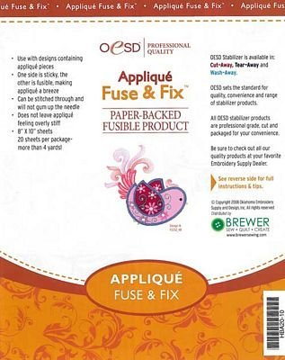 "OESD Applique Fuse & Fix Paper-Backed Fusible Product 8"" x 10"" Pkg of 20"