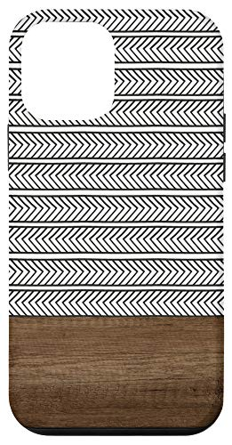 iPhone 12 mini Boho Stripe Minimalistic Geometric Wood Design Case