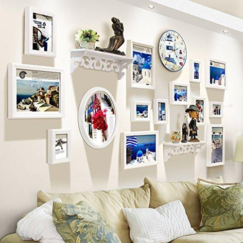 Cadre décoratif Cadres photo en bois, 14 Pcs/ensembles Collage Photo Frame Set, Cadres photo Vintage, cadre photo famille mur bricolage cadre photo ensembles pour mur (Couleur : A)