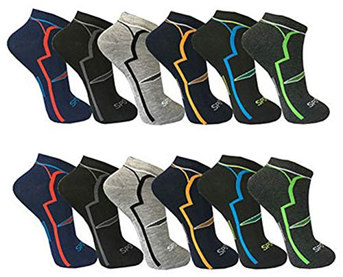 Pagel Strumpfimporte 12 Paar Herren Sneaker Socken farbig Sport mit top Design 90prozent Baumwolle (43-46)
