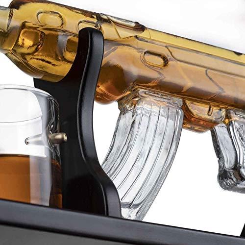 ZKZKK Decantador de Vino de Vino de cráneo y Gafas Set Conjunto de Gafas de Bola Grande de la Pistola Reutilizable de la Pistola, Exquisita Whiskey Antter con 4 Gafas de Whisky de Bala