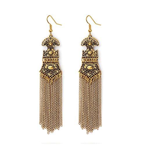 Tpocean Pendientes de borla de aleación vintage bohemia pendientes largos ondulados borla pendientes para mujeres niñas (oro)