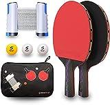 Sportout Raquette de Ping Pong Set,Raquette De Tennis De Table Set pour Débutants et Joueurs Avancés Intérieur Extérieur,2*Raquette De Ping Pong+3*Balles+1*Rétractable Filet de Table Tennis