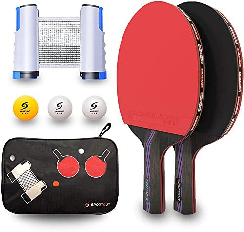 Set da Ping Pong, Set di Racchette Ping Pong,2 Racchette da Ping Pong, Rete Estensibile, 3 Palline da Ping Pong, 1 Borsa in Rete, per Principianti, Famiglie e Professionisti