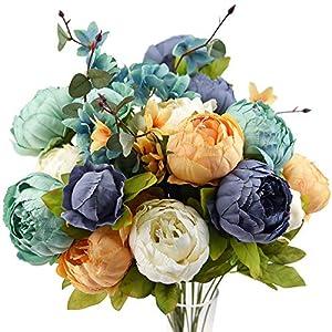 fiveseasonstuff vintage artificial peonies silk flowers and hydrangeas for wedding bridal home décor – beautiful floral centerpiece arrangement decoration with 2 bouquets (vintage peaceful)