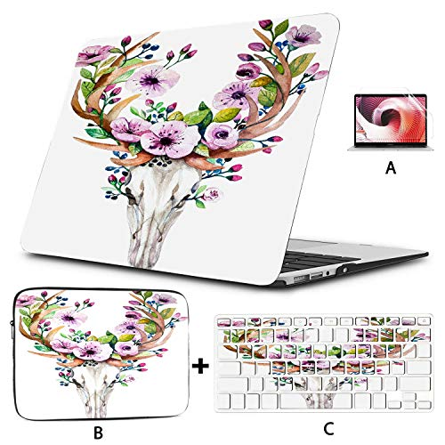 MacBook Covers Bright Watercolor Deer Skull with Flowers Mac Book Pro Covers Hard Shell Mac Air 11'/13' Pro 13'/15'/16' with Notebook Sleeve Bag for MacBook 2008-2020 Version