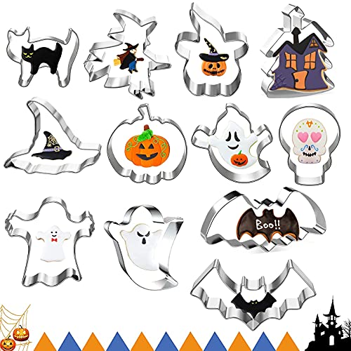 LINKLKBOY Stampi Biscotti,Formine Biscotti Halloween,Stampini per Biscotti,Tagliabiscotti Halloween,Stampi Biscotti Halloween,Set di stampini per biscotti per fondente,biscotti,cuocere con bambini