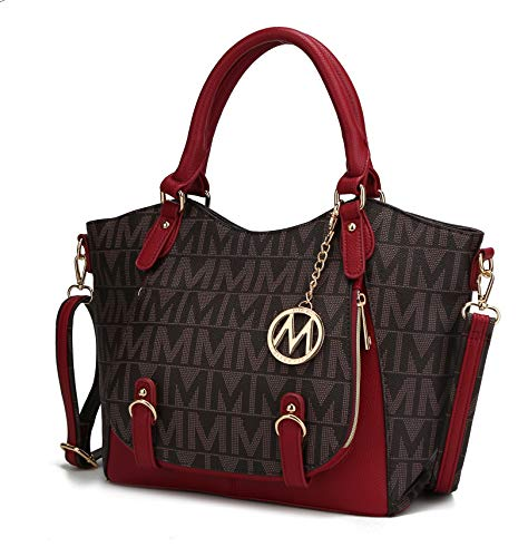 Mia K Collection Shoulder Bag for Women, PU Leather Pocketbook Top-Handle Crossbody Purse Tote Satchel Handbag Red