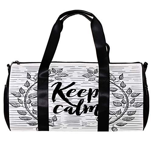 Borsone da palestra rotondo con tracolla staccabile Keep Calm Training Bag Borsa per la notte per donne e uomini