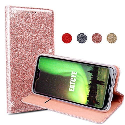 EATCYE Custodia Huawei P20 Lite, Cover Huawei P20 Lite, Brillantini Custodia Libro Portafoglio con Magnetic Closure Paraurti Lucciante Luminosa Cover per Huawei P20 Lite (Oro Rosa)