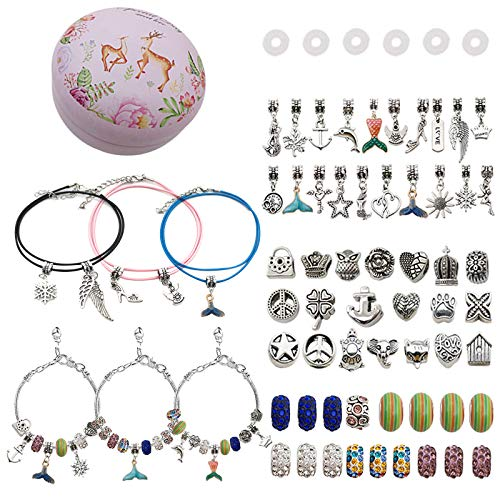 Charm Bracelet Kit 63 Pcs Charm Bracelets Making Set with Beads Jewelry Charms DIY Jewellery Making Gifts with Box for Girls Kids Teens Adults