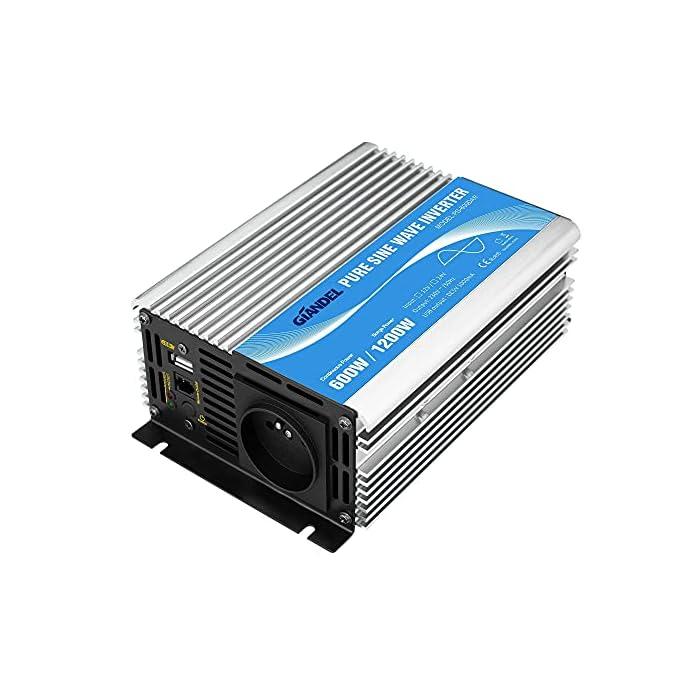 Convertisseur Pur Sinus 600W DC 12v à AC 220V 230V Onduleur Transformateur avec Télécommande et Port USB pour Ordinateur…