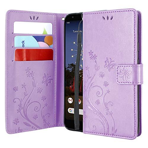 CMID Motorola One Macro / G8 Play Hülle, PU Leder Brieftasche Handytasche Flip Bookcase Schutzhülle Cover [Ständer][Handschlaufe] für Moto One Macro / G8 Play (Violett)