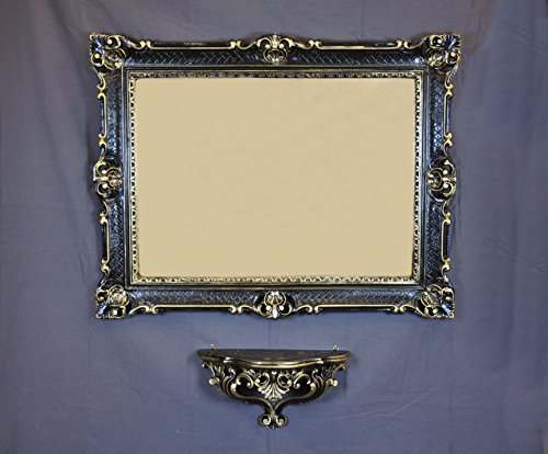 Console étagère + Miroir Grand Noir Or 86 x 67 baroque imitation vintage Louis XVI
