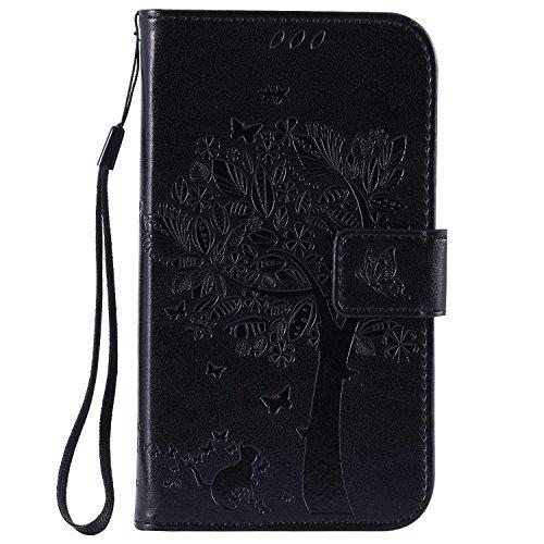 Guran® Funda de Cuero Para Samsung Galaxy Grand Neo Plus / Grand Neo (i9060) Smartphone Función de Soporte con Ranura para Tarjetas Flip Case Cover-negro