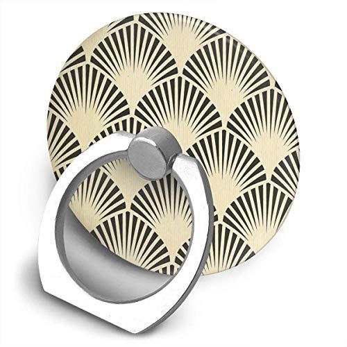 ARRISLIFE Art Deco Black Beige Rustic Vintage Fan Pattern Elegant Chic Soporte para teléfono,Round-Shaped Soporte para Anillo de teléfono Celular,360 Degrees Rotating Soporte de Metal