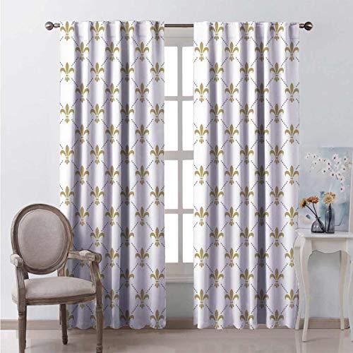 Fleur De Lis 99% cortinas opacas patrón de flor de Lis vintage estilizada flor de lirio real símbolo artístico diseño para dormitorio jardín de infancia sala de estar W72 x L72 pulgadas blanco oro