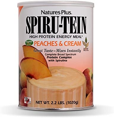 NaturesPlus SPIRU-TEIN Shake - Peaches & Cream Flavor - 1.1 lbs, Spirulina Protein Powder - Plant Based Meal Replacement, Vitamins & Minerals for Energy - Vegetarian, Gluten-Free - 15 Servings
