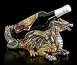 Figuren Shop GmbH Fantasy Flaschenhalter Steampunk Drache - Guardian of The Grapes | Gothic Flaschenständer, handbemalt
